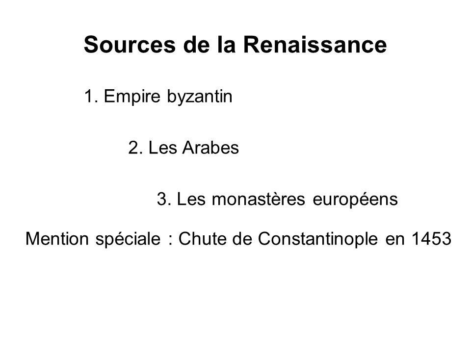 Sources de la Renaissance 1. Empire byzantin 2. Les Arabes 3. Les monastères européens Mention spéciale : Chute de Constantinople en 1453