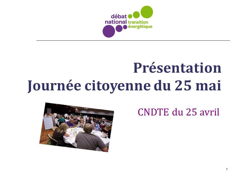 1 Présentation Journée citoyenne du 25 mai CNDTE du 25 avril