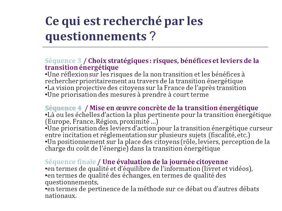 Ce qui est recherché par les questionnements ? Séquence 3 / Choix stratégiques : risques, bénéfices et leviers de la transition énergétique Une réflex