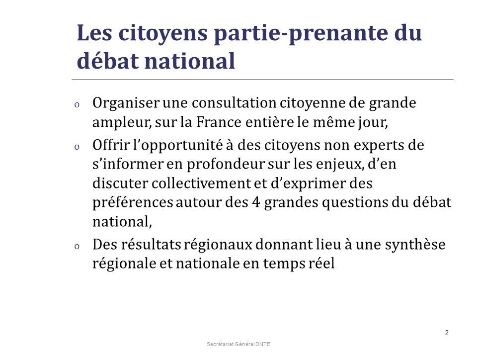 Secrétariat Général DNTE 2 Les citoyens partie-prenante du débat national o Organiser une consultation citoyenne de grande ampleur, sur la France enti