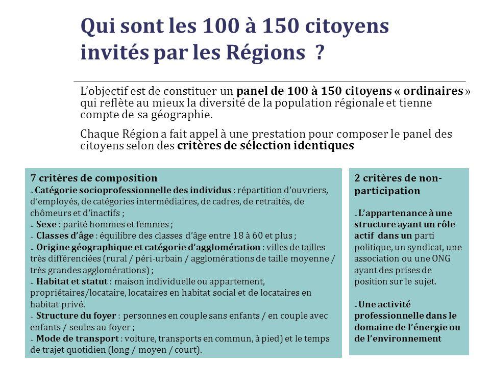 Secrétariat Général DNTE Qui sont les 100 à 150 citoyens invités par les Régions ? Lobjectif est de constituer un panel de 100 à 150 citoyens « ordina