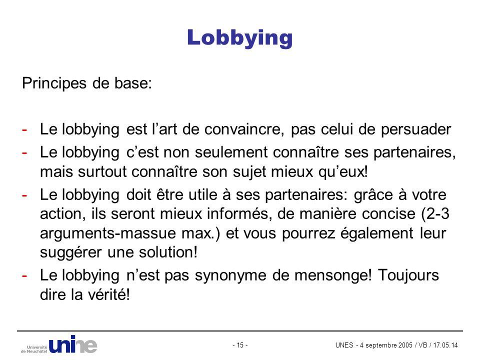 UNES - 4 septembre 2005 / VB / 17.05.14- 15 - Lobbying Principes de base: -Le lobbying est lart de convaincre, pas celui de persuader -Le lobbying cest non seulement connaître ses partenaires, mais surtout connaître son sujet mieux queux.