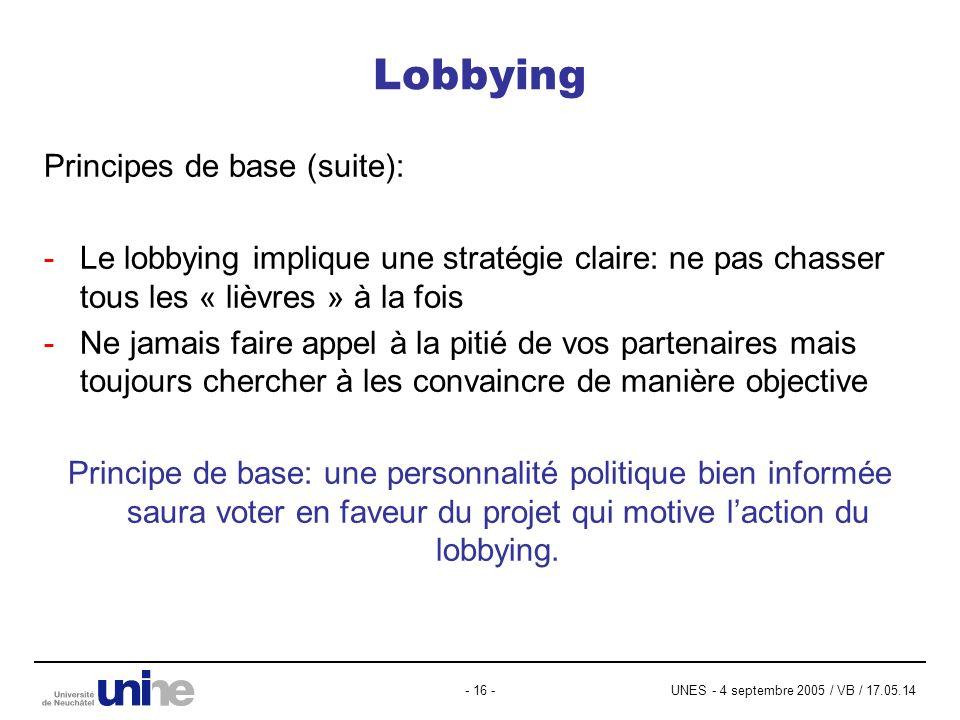 UNES - 4 septembre 2005 / VB / 17.05.14- 16 - Lobbying Principes de base (suite): -Le lobbying implique une stratégie claire: ne pas chasser tous les