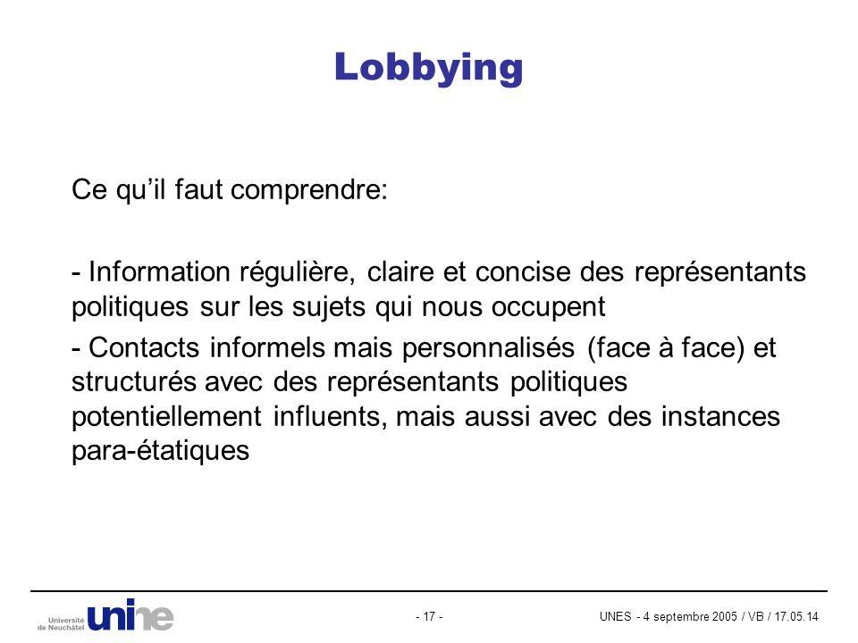 UNES - 4 septembre 2005 / VB / 17.05.14- 17 - Lobbying Ce quil faut comprendre: - Information régulière, claire et concise des représentants politique