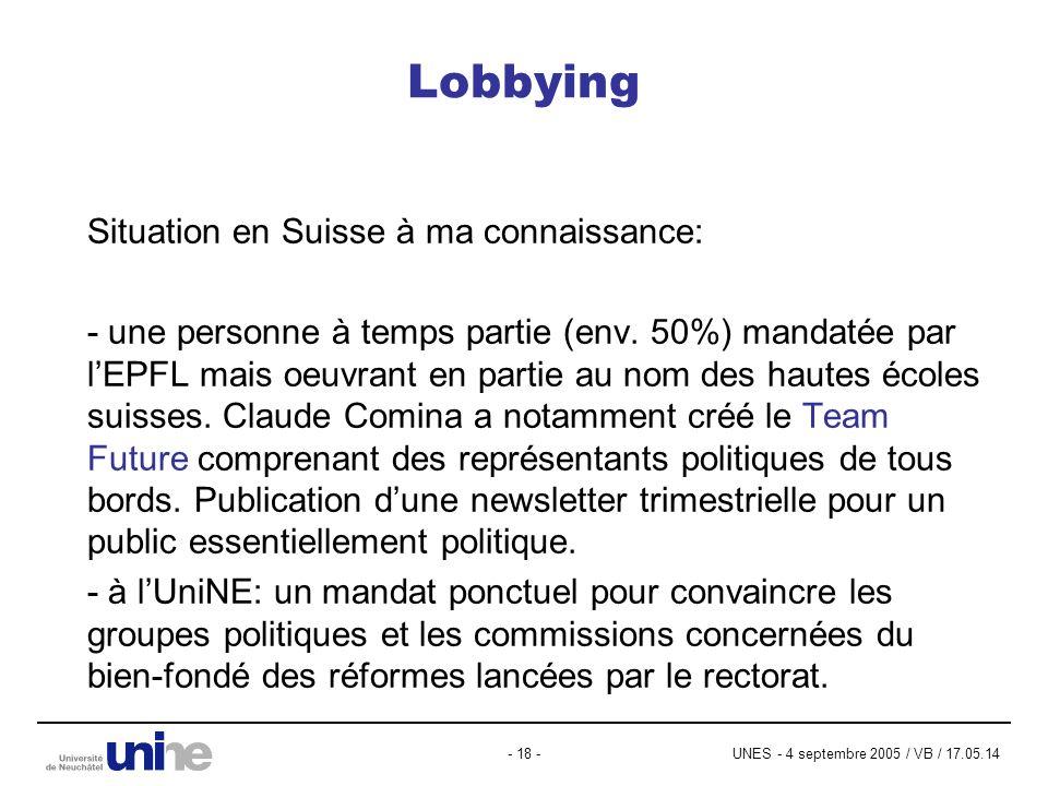 UNES - 4 septembre 2005 / VB / 17.05.14- 18 - Lobbying Situation en Suisse à ma connaissance: - une personne à temps partie (env. 50%) mandatée par lE