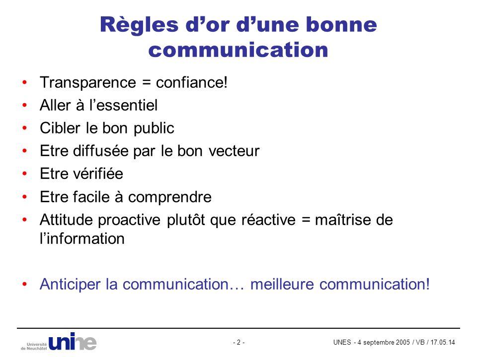 UNES - 4 septembre 2005 / VB / 17.05.14- 2 - Règles dor dune bonne communication Transparence = confiance! Aller à lessentiel Cibler le bon public Etr