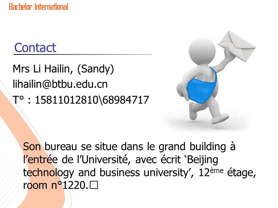 Contact Mrs Li Hailin, (Sandy) lihailin@btbu.edu.cn T° : 15811012810\68984717 Son bureau se situe dans le grand building à lentrée de lUniversité, ave