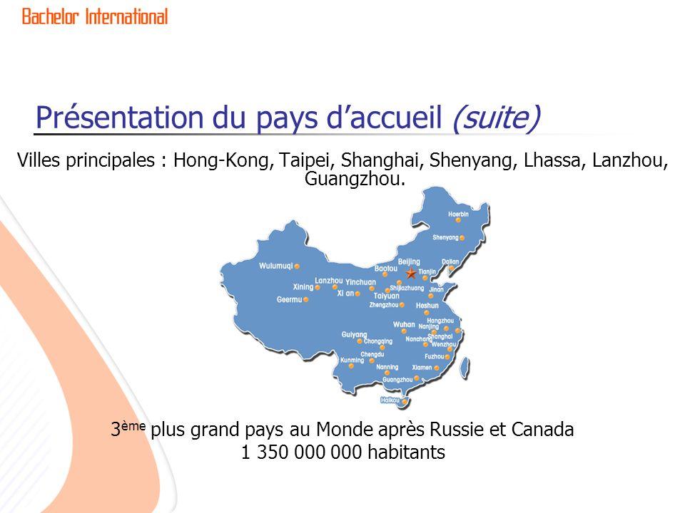 Présentation du pays daccueil (suite) Villes principales : Hong-Kong, Taipei, Shanghai, Shenyang, Lhassa, Lanzhou, Guangzhou.