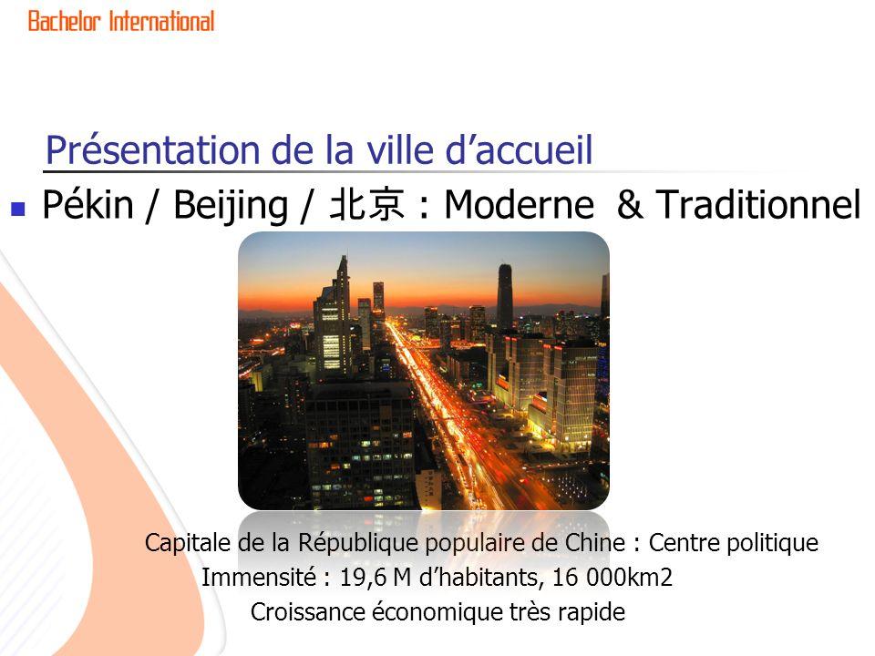 Présentation de la ville daccueil Pékin / Beijing / : Moderne & Traditionnel Capitale de la République populaire de Chine : Centre politique Immensité : 19,6 M dhabitants, 16 000km2 Croissance économique très rapide