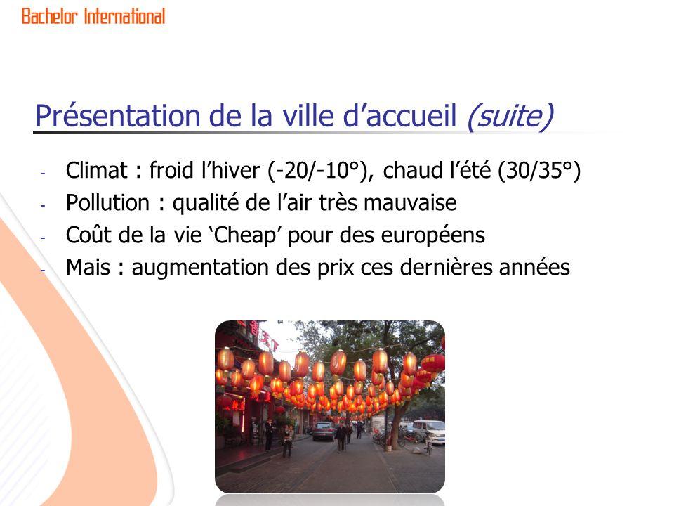 Présentation de la ville daccueil (suite) - Climat : froid lhiver (-20/-10°), chaud lété (30/35°) - Pollution : qualité de lair très mauvaise - Coût de la vie Cheap pour des européens - Mais : augmentation des prix ces dernières années