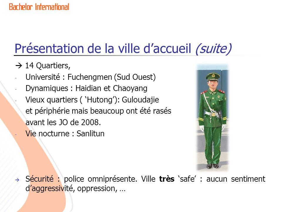 Présentation de la ville daccueil (suite) 14 Quartiers, - Université : Fuchengmen (Sud Ouest) - Dynamiques : Haidian et Chaoyang - Vieux quartiers ( H