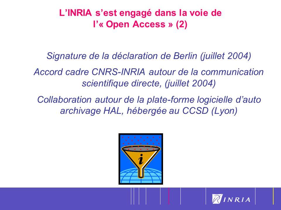 20 LINRIA sest engagé dans la voie de l« Open Access » (2) Signature de la déclaration de Berlin (juillet 2004) Accord cadre CNRS-INRIA autour de la communication scientifique directe, (juillet 2004) Collaboration autour de la plate-forme logicielle dauto archivage HAL, hébergée au CCSD (Lyon)