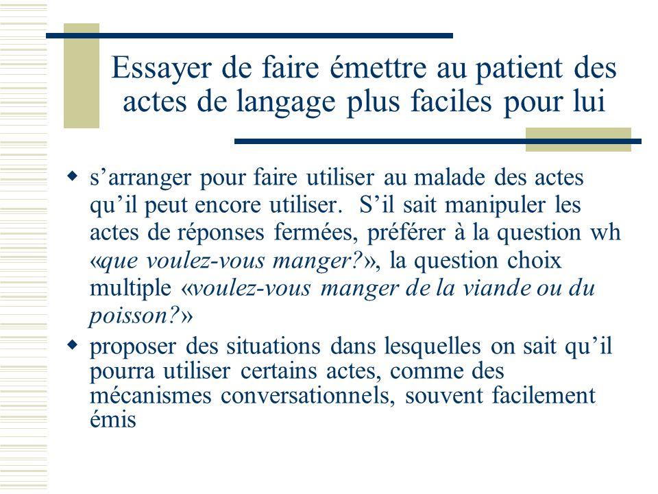 Essayer de faire émettre au patient des actes de langage plus faciles pour lui sarranger pour faire utiliser au malade des actes quil peut encore utiliser.