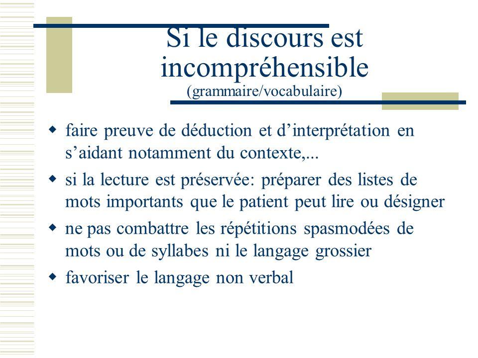 Si le discours est incompréhensible (grammaire/vocabulaire) faire preuve de déduction et dinterprétation en saidant notamment du contexte,...