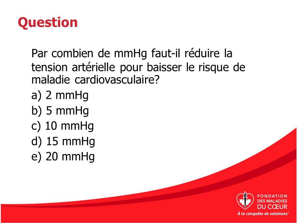 Question Par combien de mmHg faut-il réduire la tension artérielle pour baisser le risque de maladie cardiovasculaire? a) 2 mmHg b) 5 mmHg c) 10 mmHg