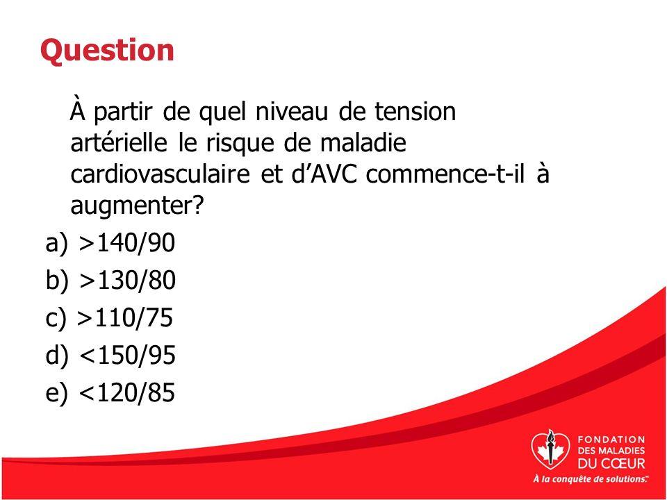 Question À partir de quel niveau de tension artérielle le risque de maladie cardiovasculaire et dAVC commence-t-il à augmenter? a) >140/90 b) >130/80