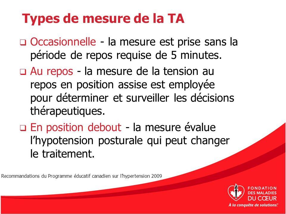 Types de mesure de la TA Occasionnelle - la mesure est prise sans la période de repos requise de 5 minutes. Au repos - la mesure de la tension au repo