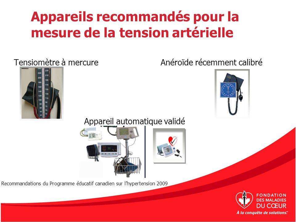Appareils recommandés pour la mesure de la tension artérielle Tensiomètre à mercureAnéroïde récemment calibré Appareil automatique validé Recommandati