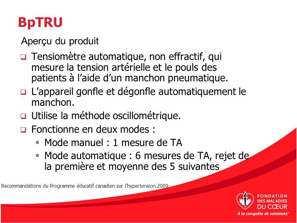 BpTRU Tensiomètre automatique, non effractif, qui mesure la tension artérielle et le pouls des patients à laide dun manchon pneumatique. Lappareil gon
