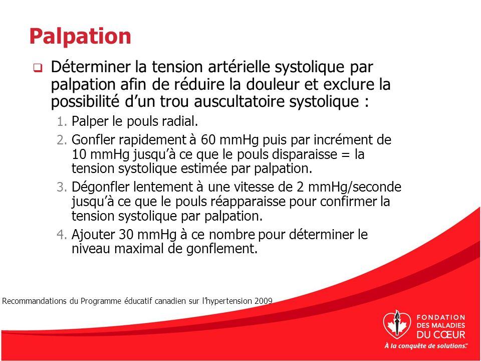 Palpation Déterminer la tension artérielle systolique par palpation afin de réduire la douleur et exclure la possibilité dun trou auscultatoire systol