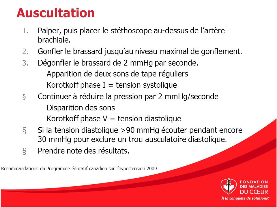 Auscultation 1. Palper, puis placer le stéthoscope au-dessus de lartère brachiale. 2. Gonfler le brassard jusquau niveau maximal de gonflement. 3. Dég