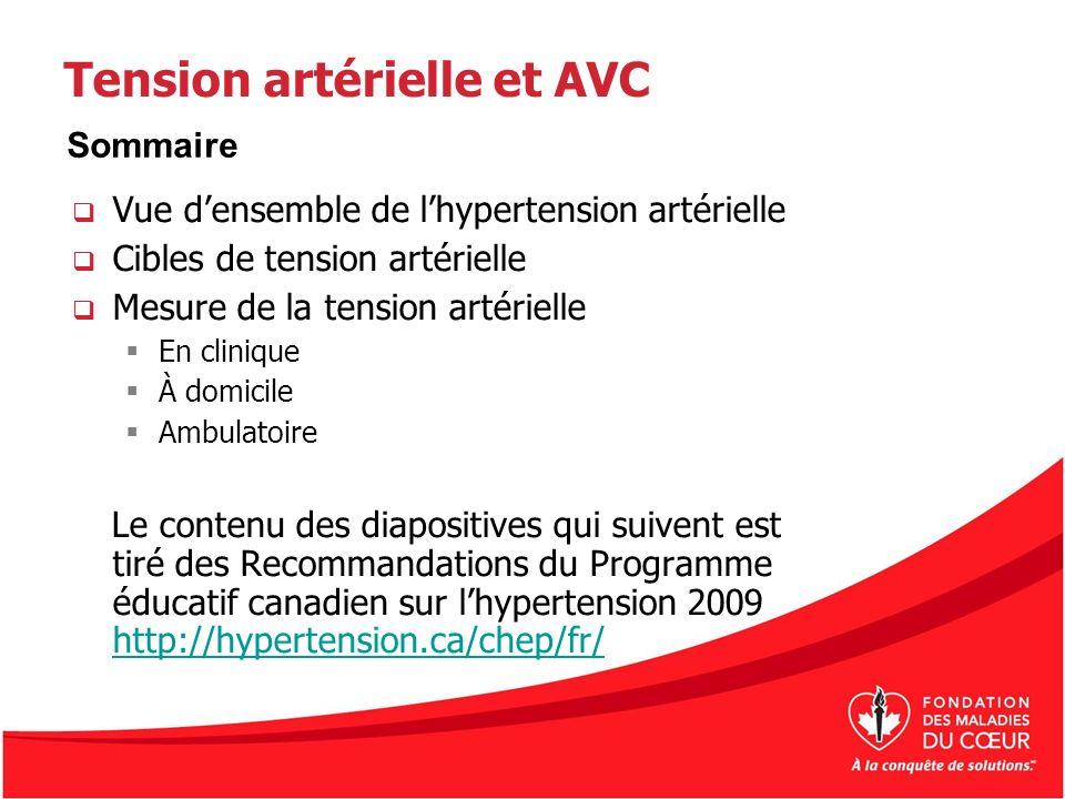 Tension artérielle 2.2a Mesure de la tension artérielle Il faut mesurer la tension artérielle de toutes les personnes exposées à un risque d AVCà chaque consultation avec un professionnel de la santé, mais pas moins dune fois lan.