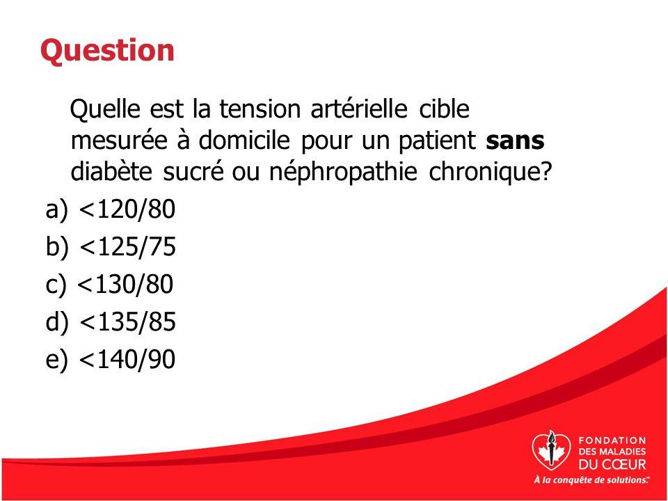 Question Quelle est la tension artérielle cible mesurée à domicile pour un patient sans diabète sucré ou néphropathie chronique? a) <120/80 b) <125/75