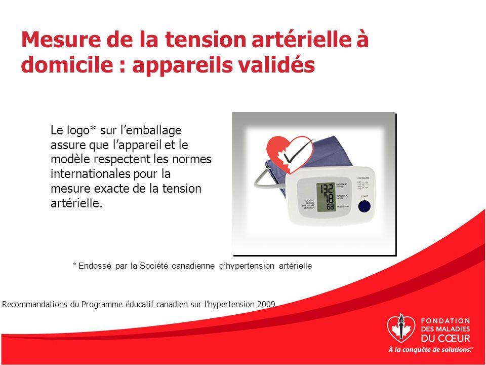 Mesure de la tension artérielle à domicile : appareils validés Le logo* sur lemballage assure que lappareil et le modèle respectent les normes interna
