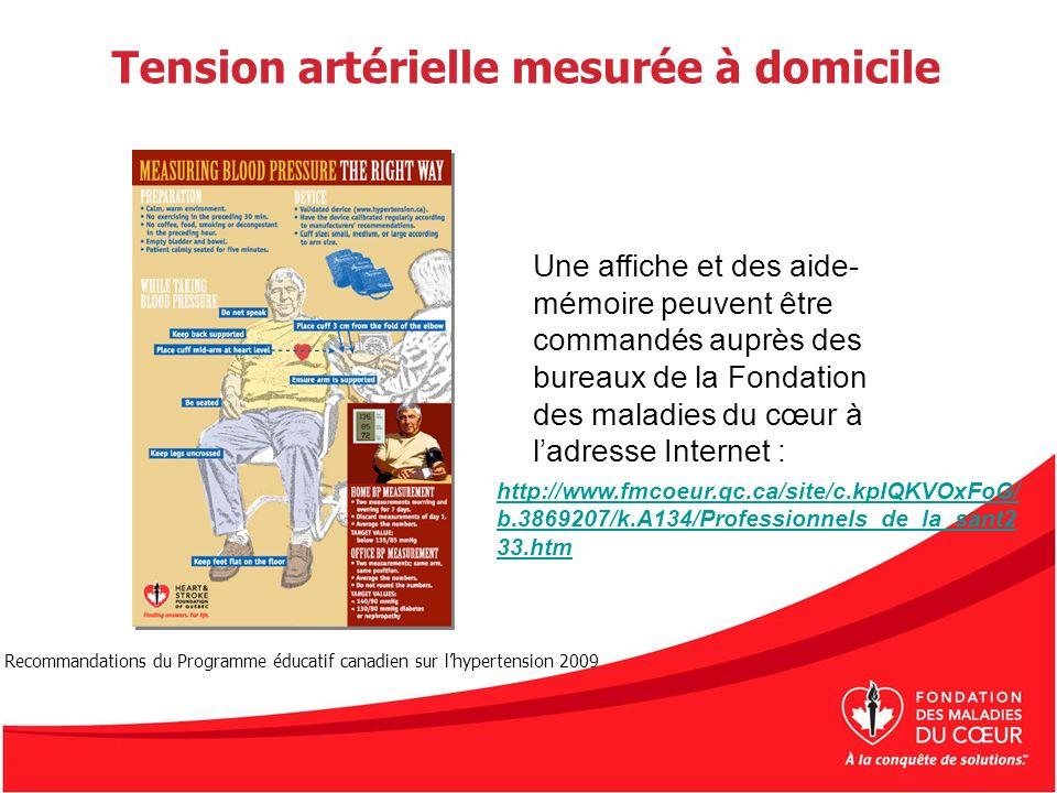 Tension artérielle mesurée à domicile Une affiche et des aide- mémoire peuvent être commandés auprès des bureaux de la Fondation des maladies du cœur