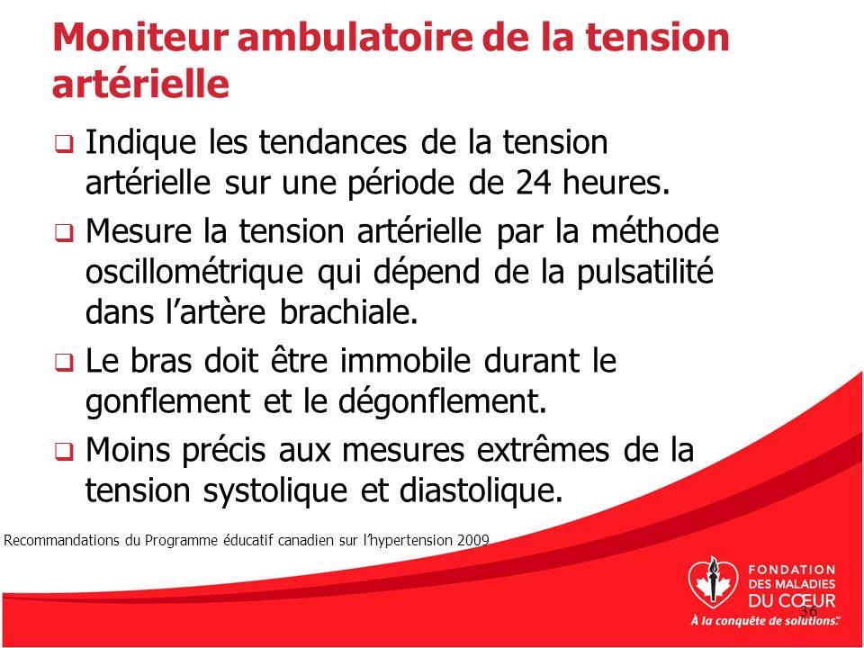 Moniteur ambulatoire de la tension artérielle Indique les tendances de la tension artérielle sur une période de 24 heures. Mesure la tension artériell