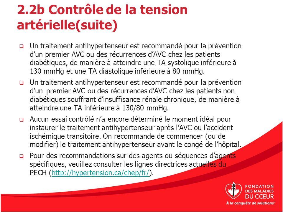 2.2b Contrôle de la tension artérielle(suite) Un traitement antihypertenseur est recommandé pour la prévention dun premier AVC ou des récurrences dAVC