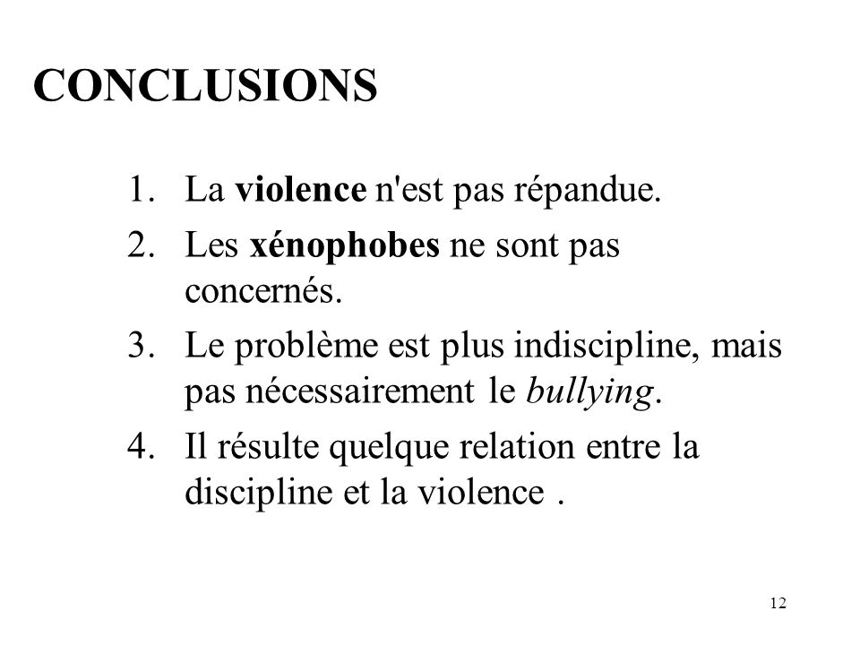 11 Variables moins incidentes. 2. Abus.