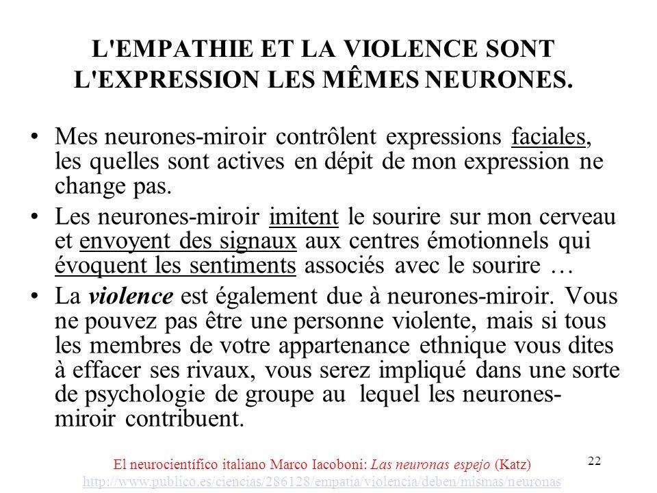 21 CONSCIENCE VITAL (INCONSCIEMMENT) ET DES NEURONES-MIROIR.