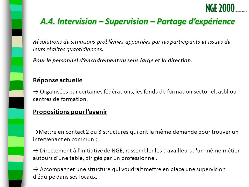 A.4. Intervision – Supervision – Partage dexpérience Résolutions de situations-problèmes apportées par les participants et issues de leurs réalités qu