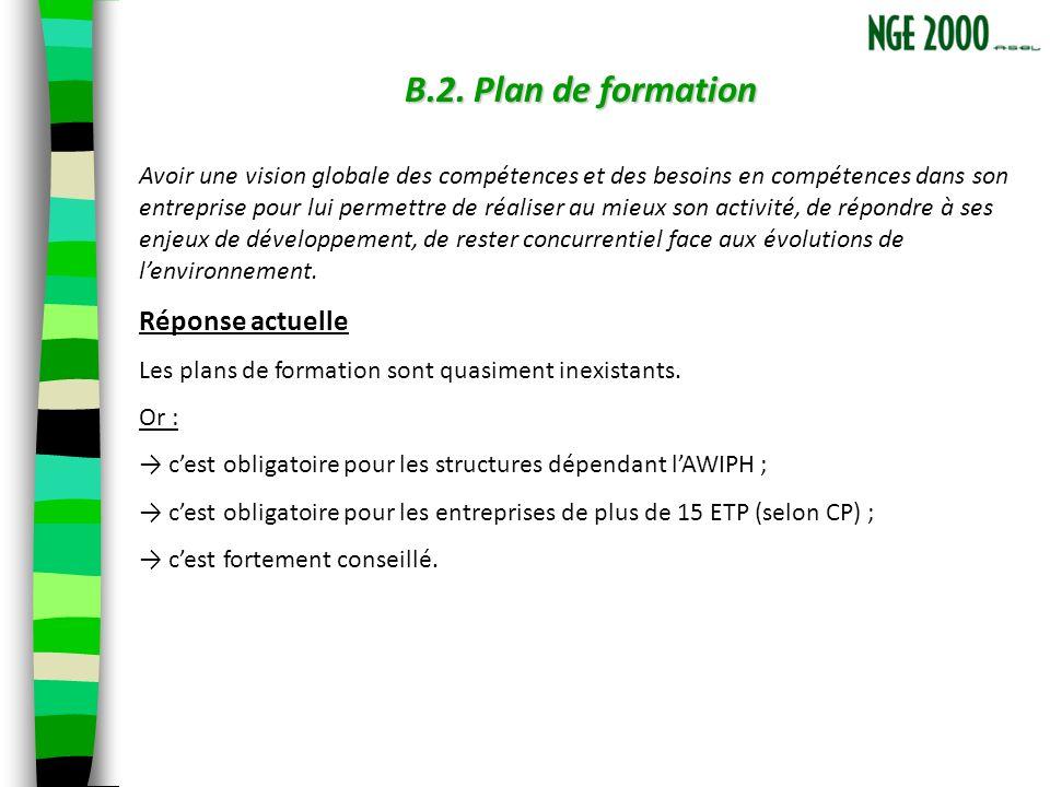 B.2. Plan de formation Avoir une vision globale des compétences et des besoins en compétences dans son entreprise pour lui permettre de réaliser au mi