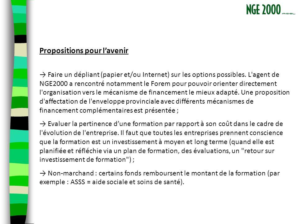 Propositions pour lavenir Faire un dépliant (papier et/ou Internet) sur les options possibles.