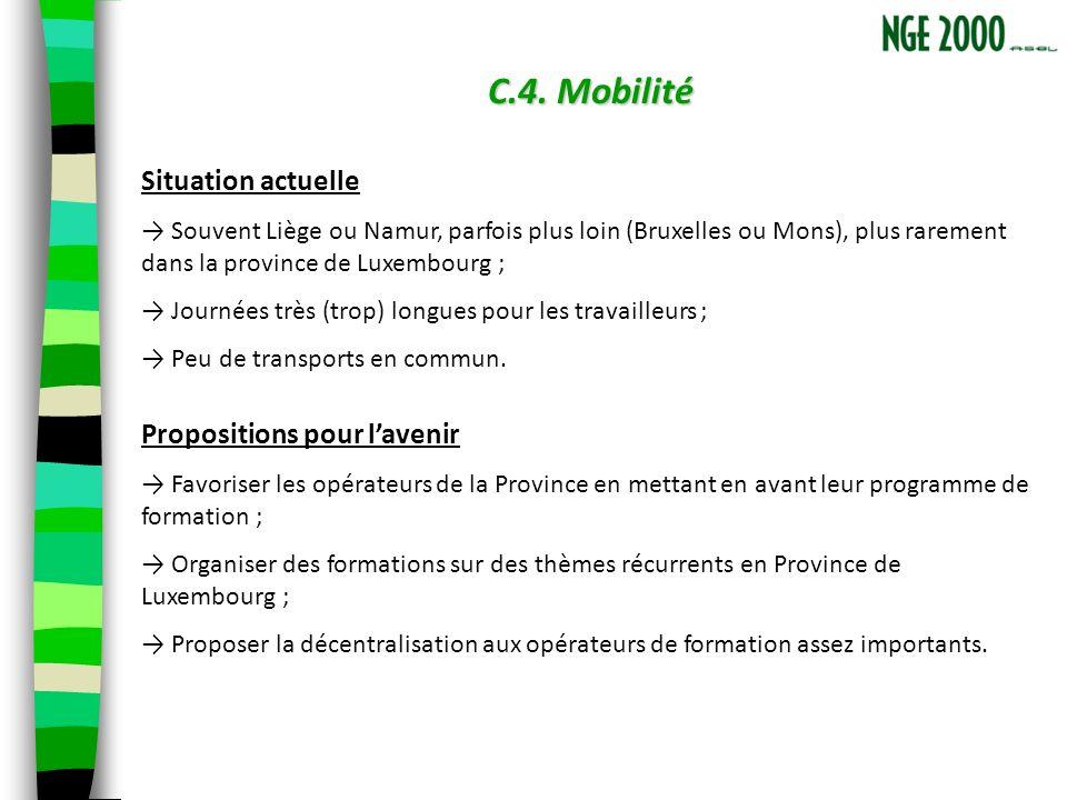 C.4. Mobilité Situation actuelle Souvent Liège ou Namur, parfois plus loin (Bruxelles ou Mons), plus rarement dans la province de Luxembourg ; Journée
