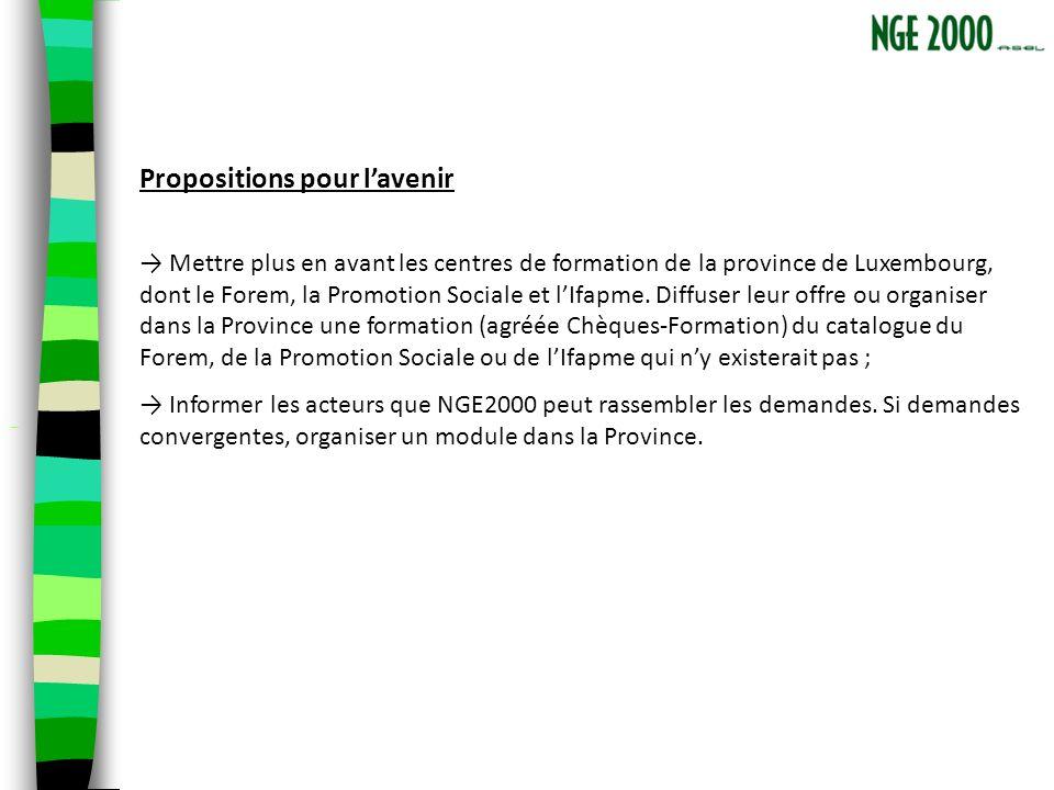 Propositions pour lavenir Mettre plus en avant les centres de formation de la province de Luxembourg, dont le Forem, la Promotion Sociale et lIfapme.