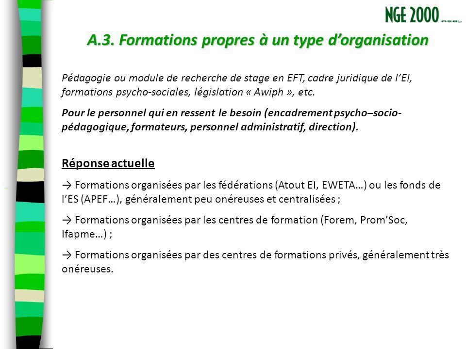 A.3. Formations propres à un type dorganisation Pédagogie ou module de recherche de stage en EFT, cadre juridique de lEI, formations psycho-sociales,