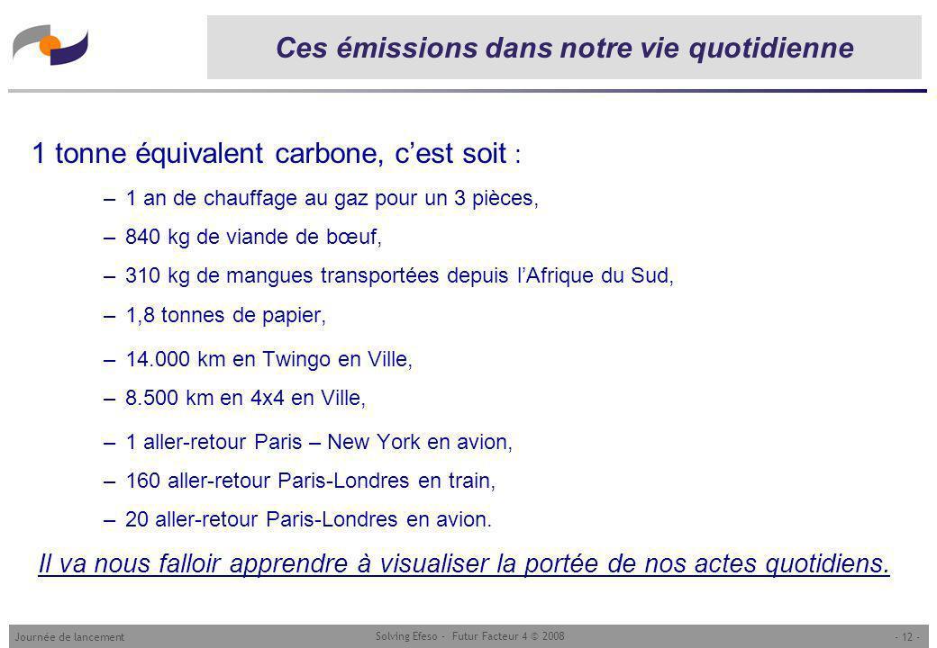 - 12 -Journée de lancement Solving Efeso - Futur Facteur 4 © 2008 Ces émissions dans notre vie quotidienne 1 tonne équivalent carbone, cest soit : –1 an de chauffage au gaz pour un 3 pièces, –840 kg de viande de bœuf, –310 kg de mangues transportées depuis lAfrique du Sud, –1,8 tonnes de papier, –14.000 km en Twingo en Ville, –8.500 km en 4x4 en Ville, –1 aller-retour Paris – New York en avion, –160 aller-retour Paris-Londres en train, –20 aller-retour Paris-Londres en avion.