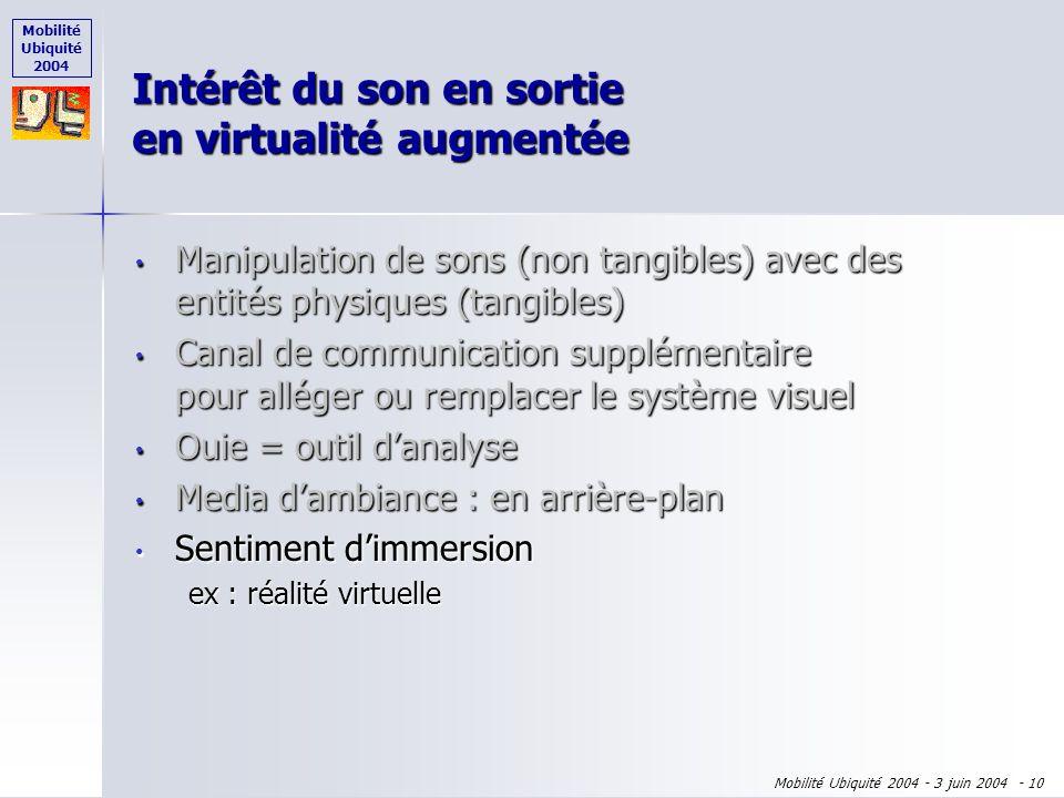 Mobilité Ubiquité 2004 Mobilité Ubiquité 2004 - 3 juin 2004 - 9 Intérêt du son en sortie en virtualité augmentée Manipulation de sons (non tangibles)