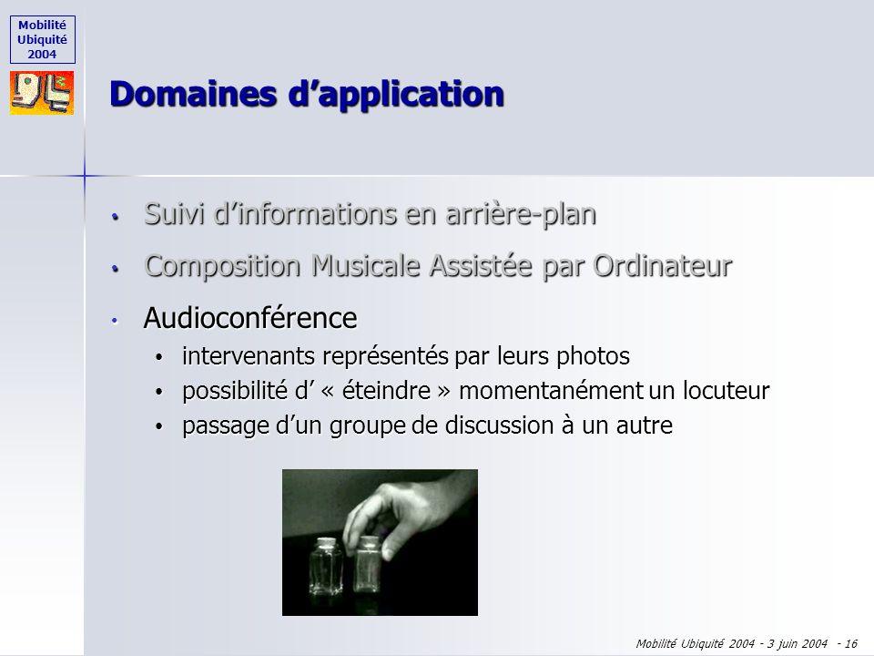 Mobilité Ubiquité 2004 Mobilité Ubiquité 2004 - 3 juin 2004 - 15 Domaines dapplication Suivi dinformations en arrière-plan Suivi dinformations en arri