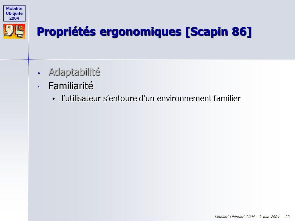 Mobilité Ubiquité 2004 Mobilité Ubiquité 2004 - 3 juin 2004 - 22 Propriétés ergonomiques [Scapin 86] Adaptabilité Adaptabilité lutilisateur choisit le