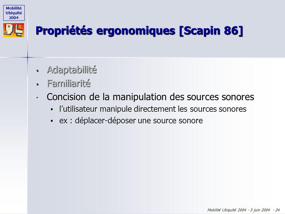 Mobilité Ubiquité 2004 Mobilité Ubiquité 2004 - 3 juin 2004 - 23 Adaptabilité Adaptabilité Familiarité Familiarité lutilisateur sentoure dun environne