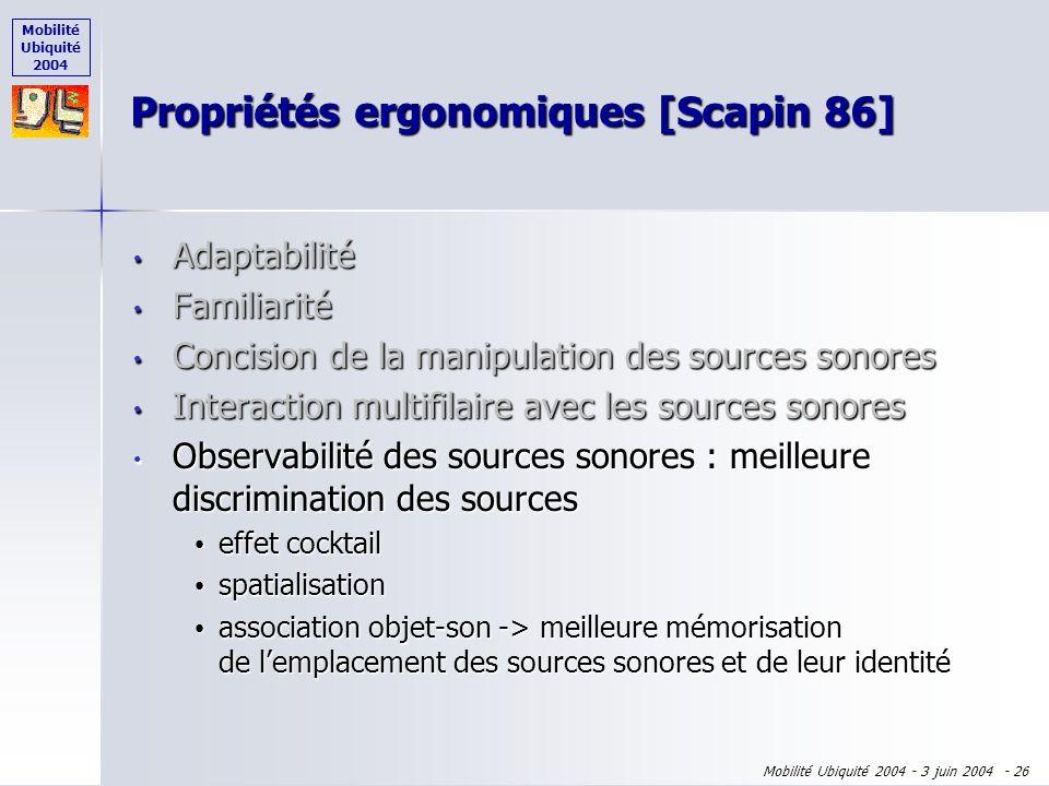 Mobilité Ubiquité 2004 Mobilité Ubiquité 2004 - 3 juin 2004 - 25 Adaptabilité Adaptabilité Familiarité Familiarité Concision de la manipulation des so