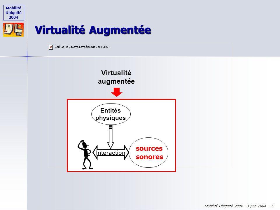 Mobilité Ubiquité 2004 Mobilité Ubiquité 2004 - 3 juin 2004 - 4 Virtualité augmentée Virtualité Augmentée Interaction Entités numériques Entités physi