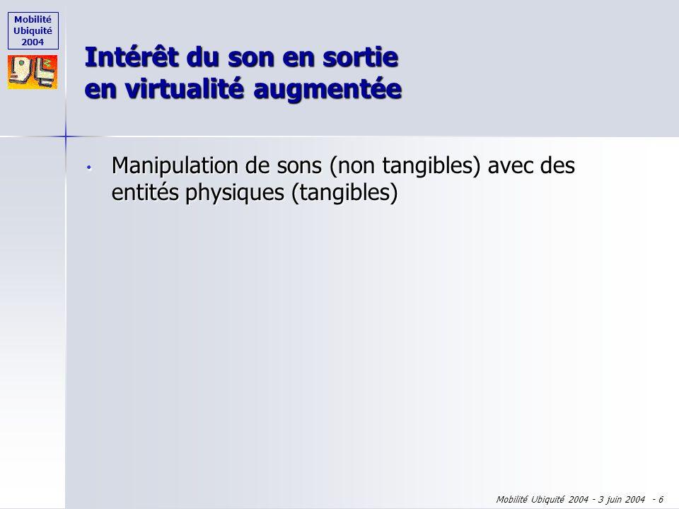 Mobilité Ubiquité 2004 Mobilité Ubiquité 2004 - 3 juin 2004 - 5 Virtualité augmentée Virtualité Augmentée Interaction Entités numériques Entités physi