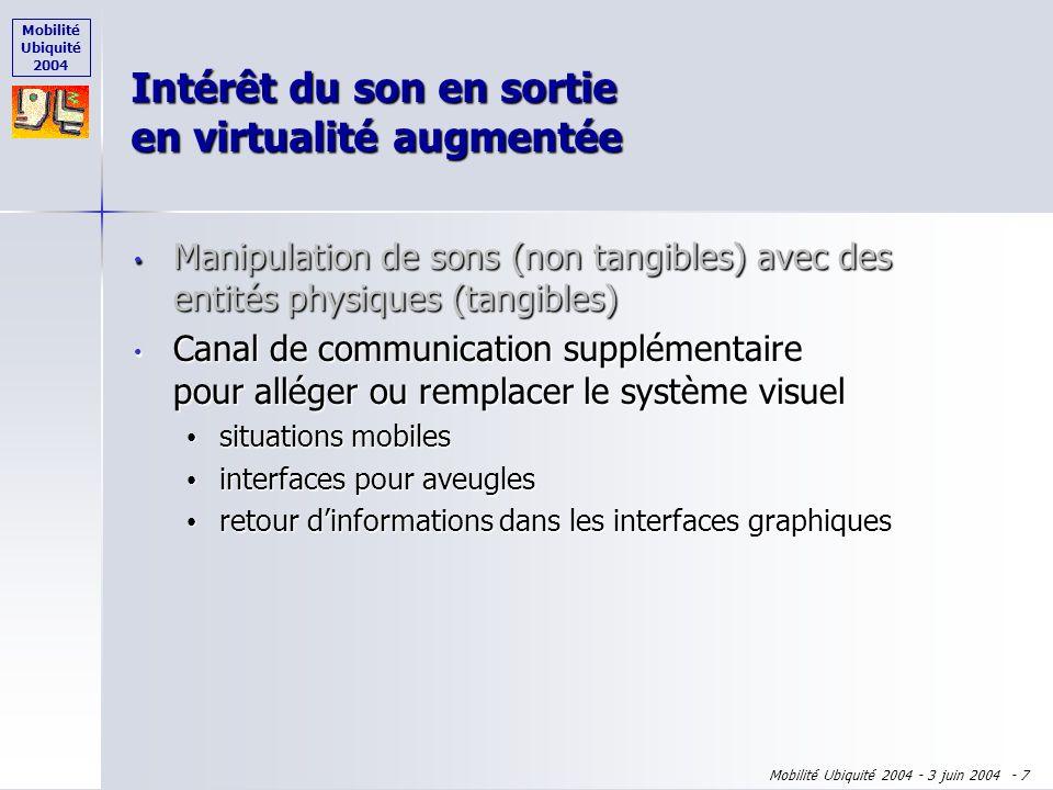 Mobilité Ubiquité 2004 Mobilité Ubiquité 2004 - 3 juin 2004 - 6 Intérêt du son en sortie en virtualité augmentée Manipulation de sons (non tangibles)