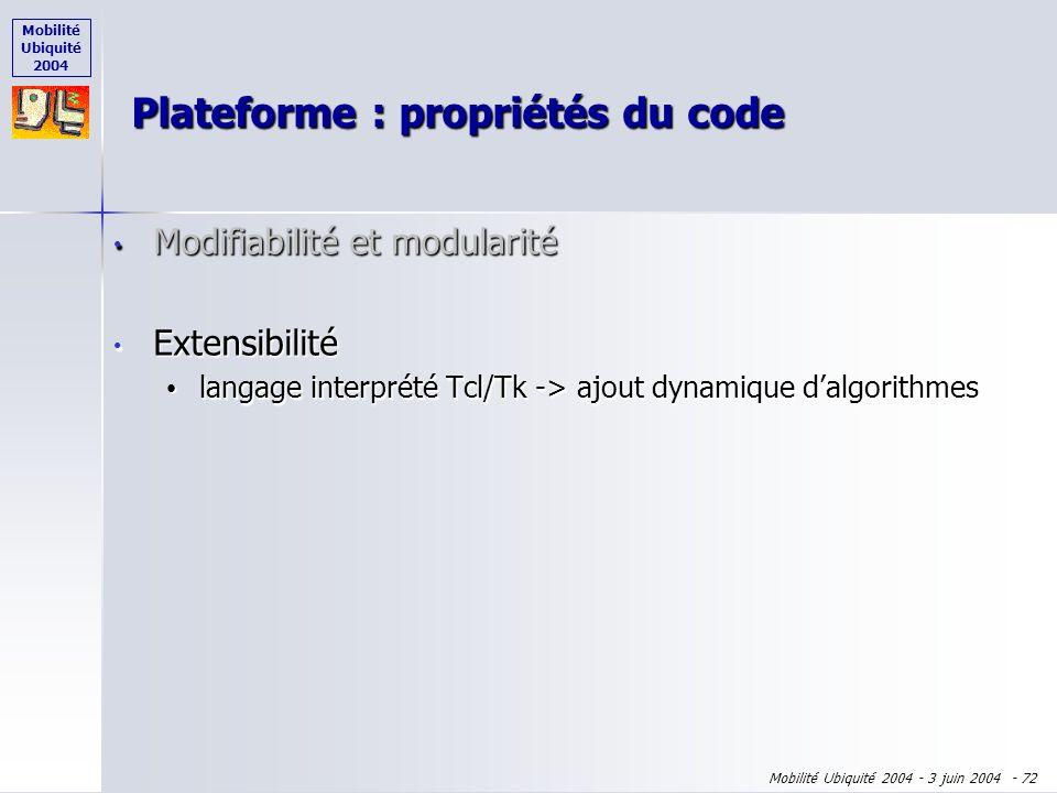 Mobilité Ubiquité 2004 Mobilité Ubiquité 2004 - 3 juin 2004 - 71 Modifiabilité et modularité Modifiabilité et modularité architecture basée sur ARCH a