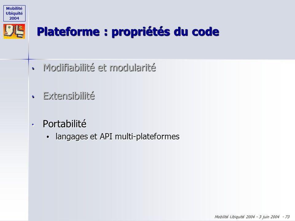 Mobilité Ubiquité 2004 Mobilité Ubiquité 2004 - 3 juin 2004 - 72 Modifiabilité et modularité Modifiabilité et modularité Extensibilité Extensibilité l